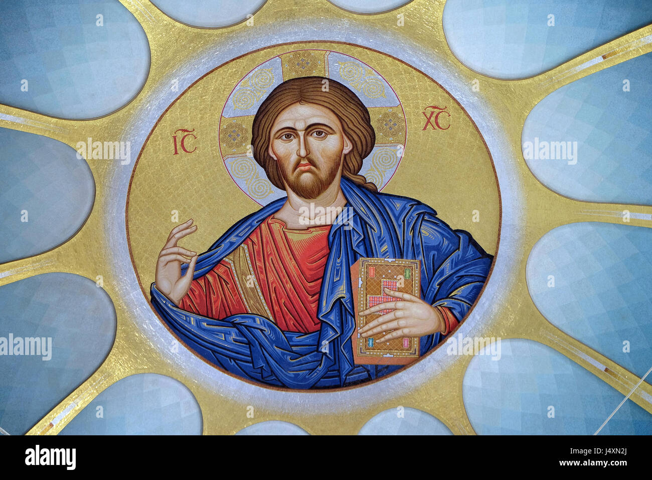 Christ Pantocrator within dome of Orthodox Cathedral of the Resurrection of Christ in Tirana, Albania - Stock Image