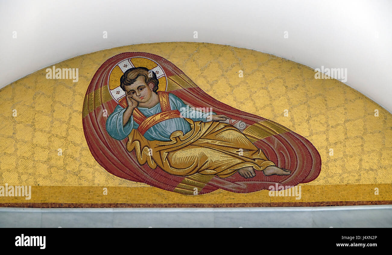 Child Christ on the ceiling of Orthodox Cathedral of the Resurrection of Christ in Tirana, Albania - Stock Image
