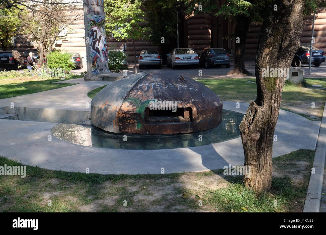 Steel bunker in Tirana, Albania on September 29, 2016. - Stock Image