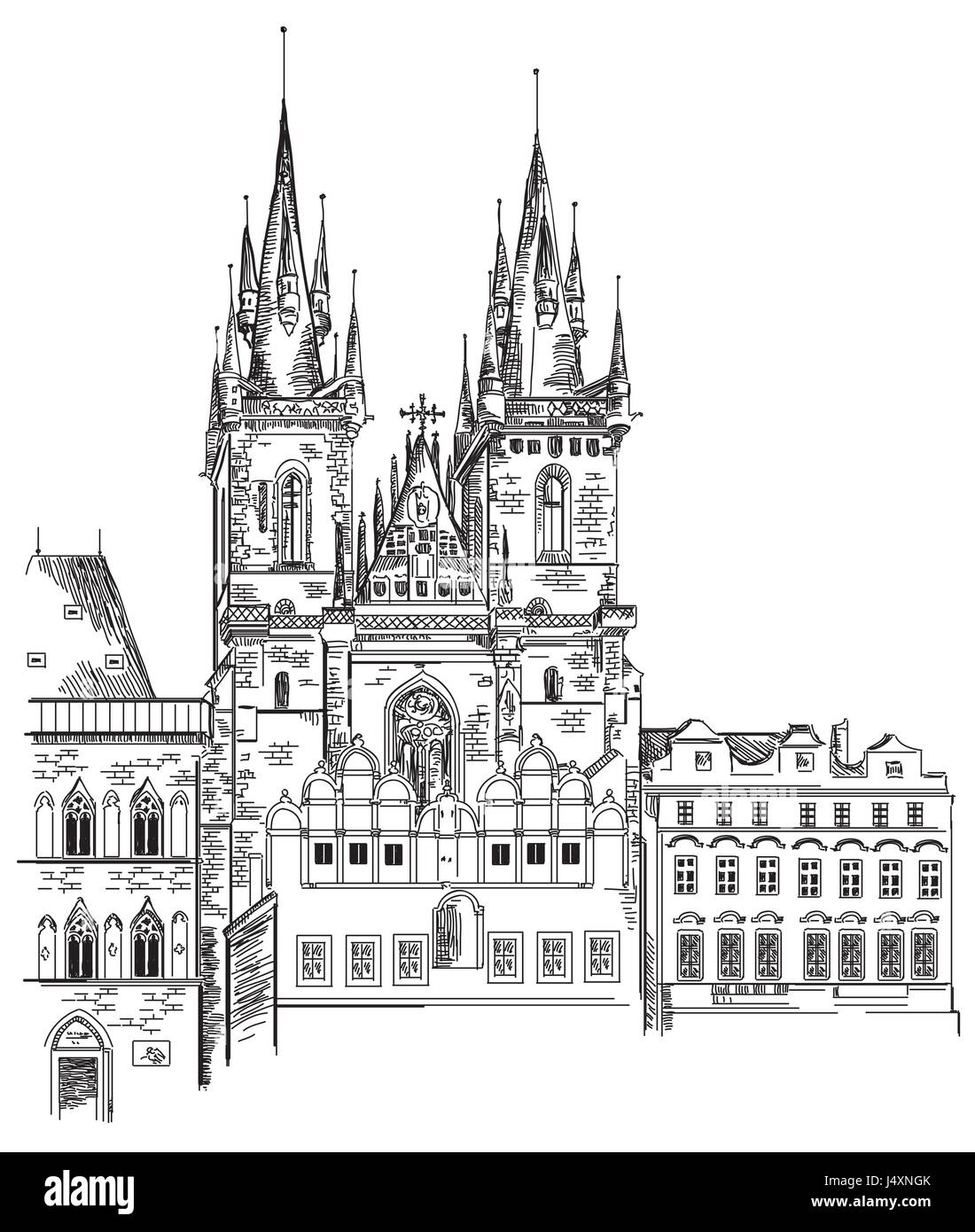 Vector Hand Drawing Illustration Of Tyn Church In Old Town Prague Czech Republic