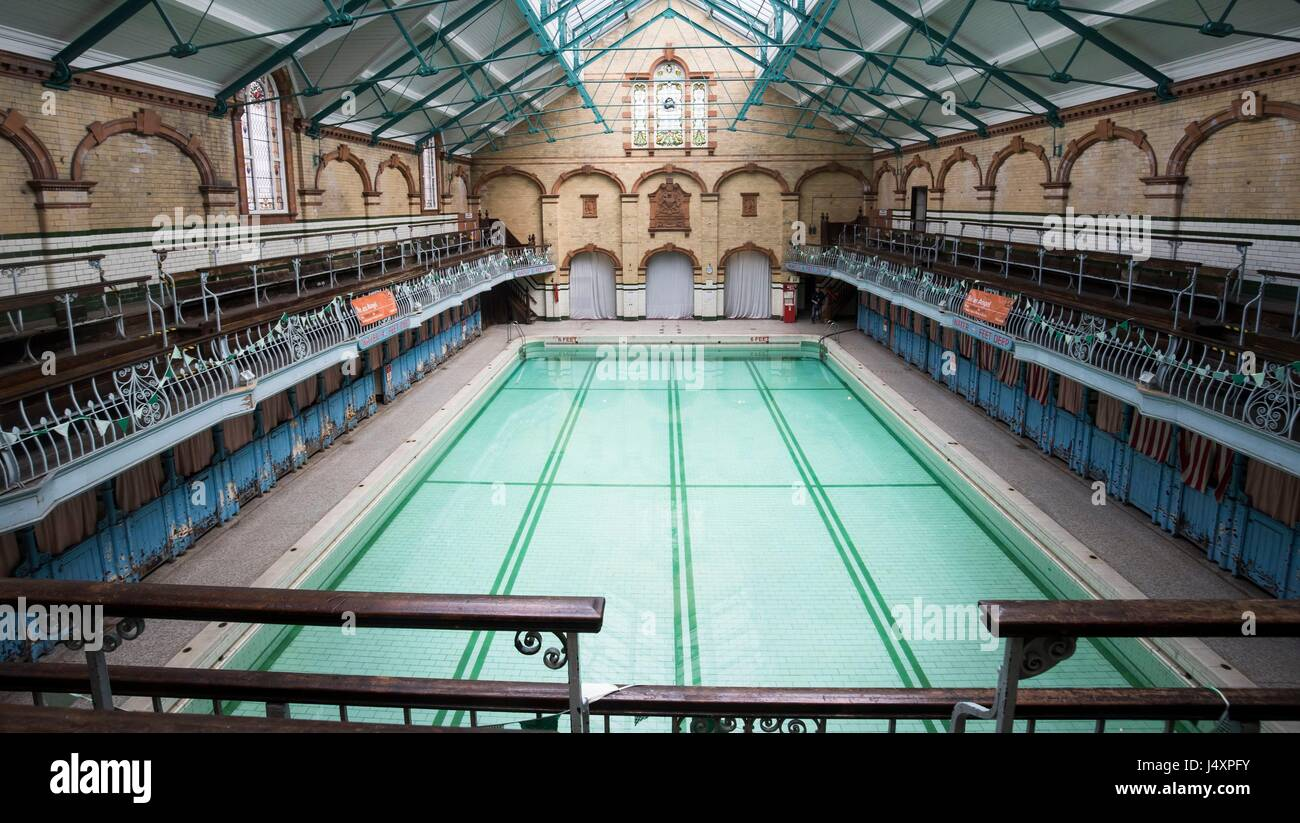 Victoria Baths in Manchester, ahead of their open swim day to raise funds for restoration work. - Stock Image