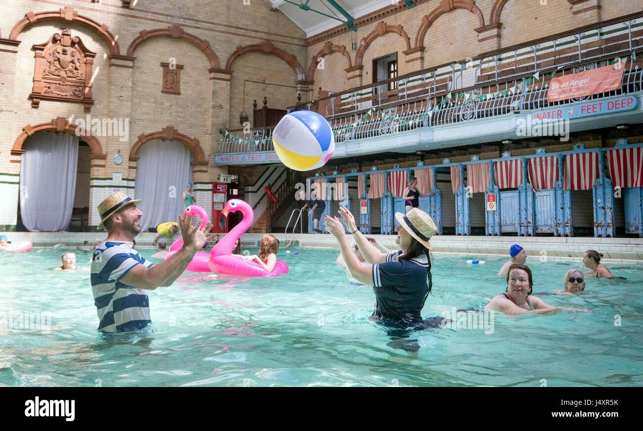 People swimming in the Men's First Class Pool at Victoria Baths in Manchester, which is having an open swim - Stock Image
