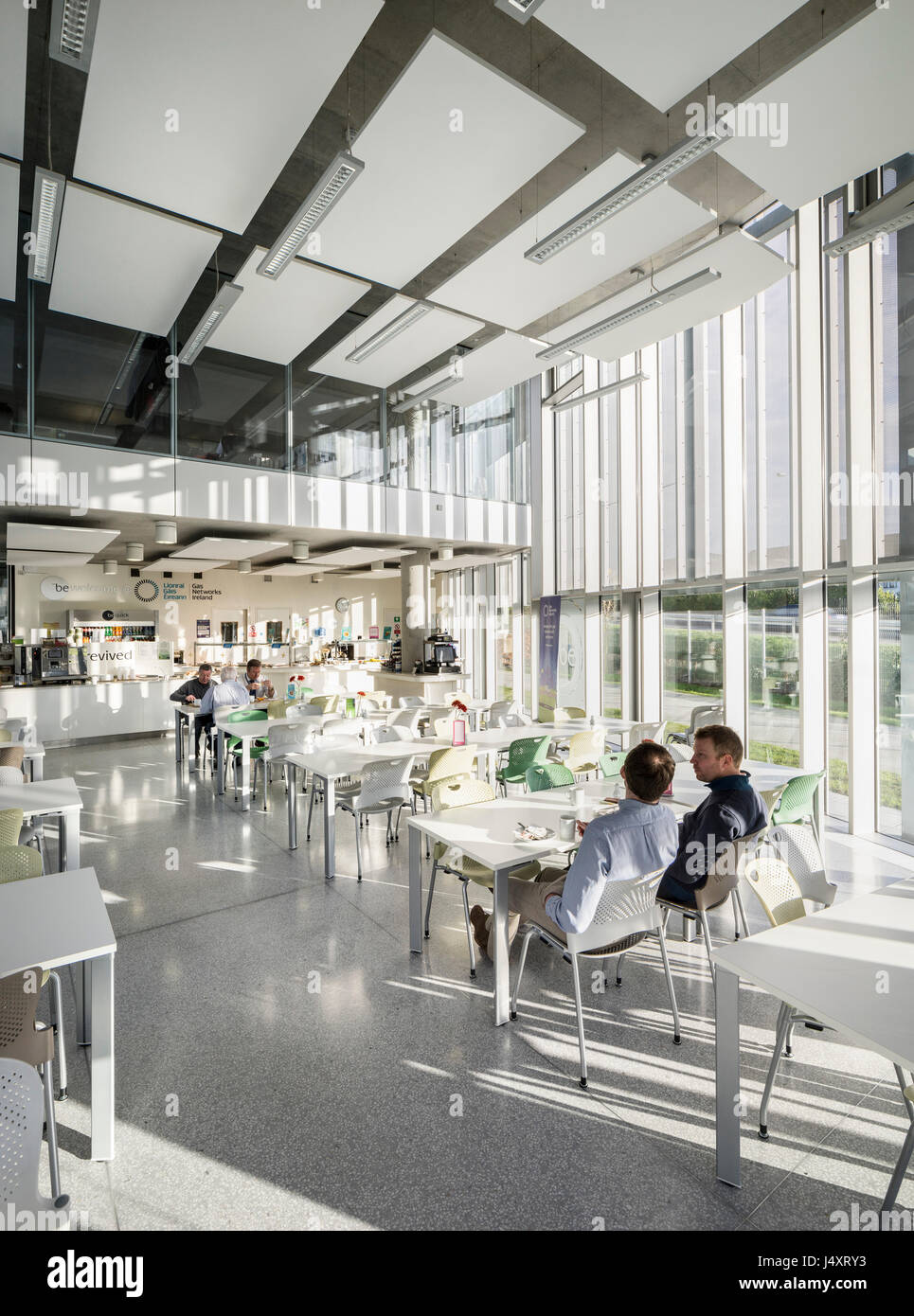 Canteen Cafe interior. Gas Networks Ireland, Dublin, Ireland. Architect: Denis Byrne Architects, 2015. - Stock Image