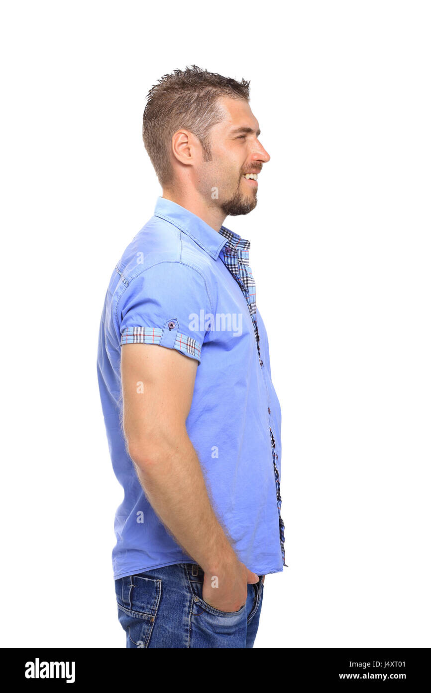 Portrait of man looking away isolated on white background - Stock Image