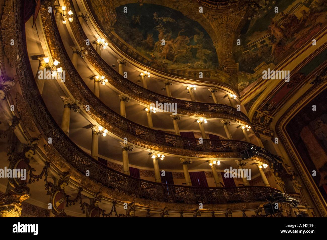 View of the interior of the Amazon Theatre under its electric lighting - Stock Image