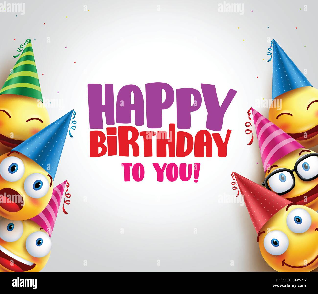Happy Birthday Greeting With Smileys Vector Background And Funny Wearing Colorful Hats For Party Celebrations