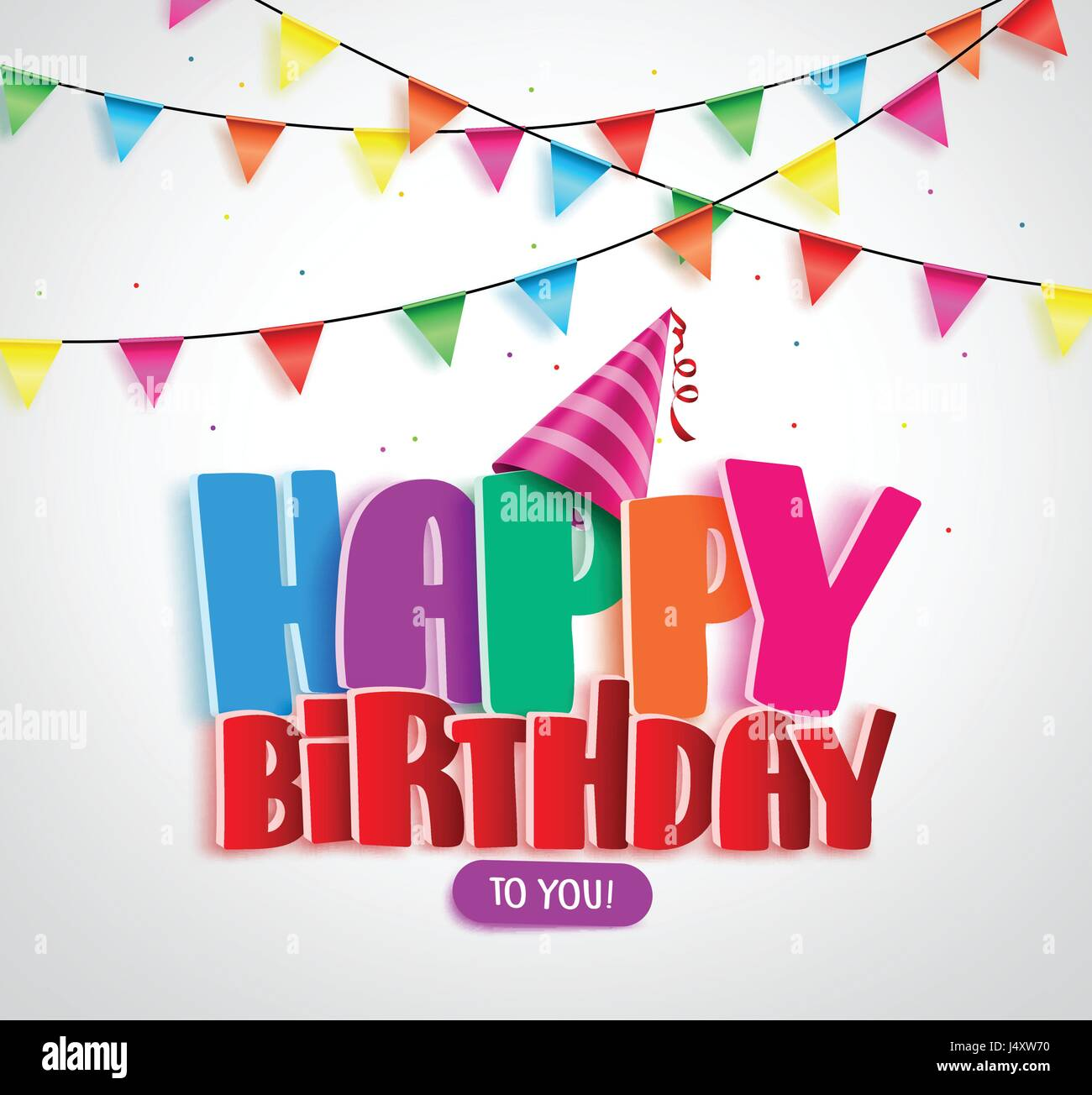 Happy Birthday Vector Banner Design With Colorful Text And