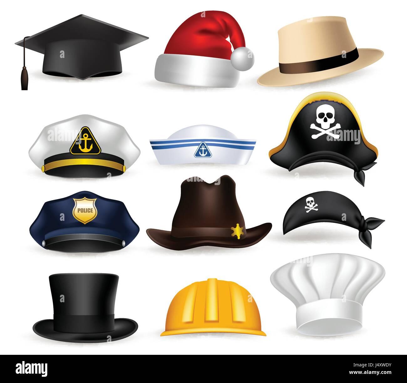 e5faecabc1e Vector Set of Professional Hat and Cap for Police, Chef, Pirates ...