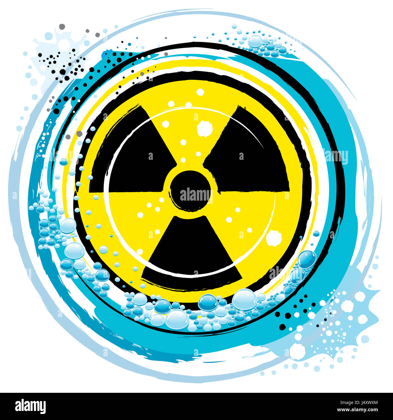 in the radiation symbol on the ocean waves - Stock Image