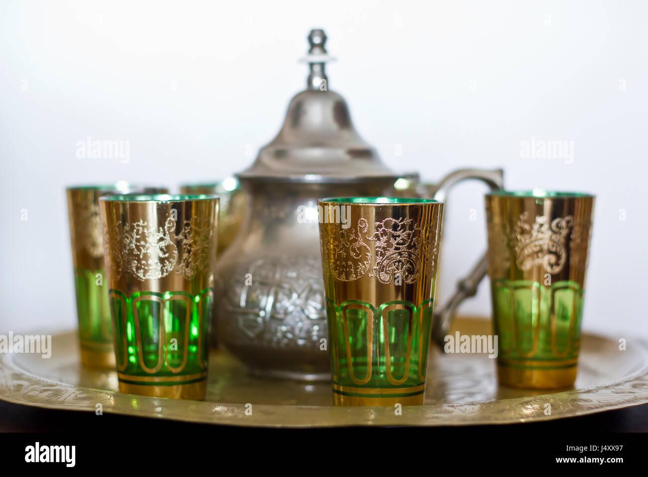 Morrocco traditional tea service - Stock Image