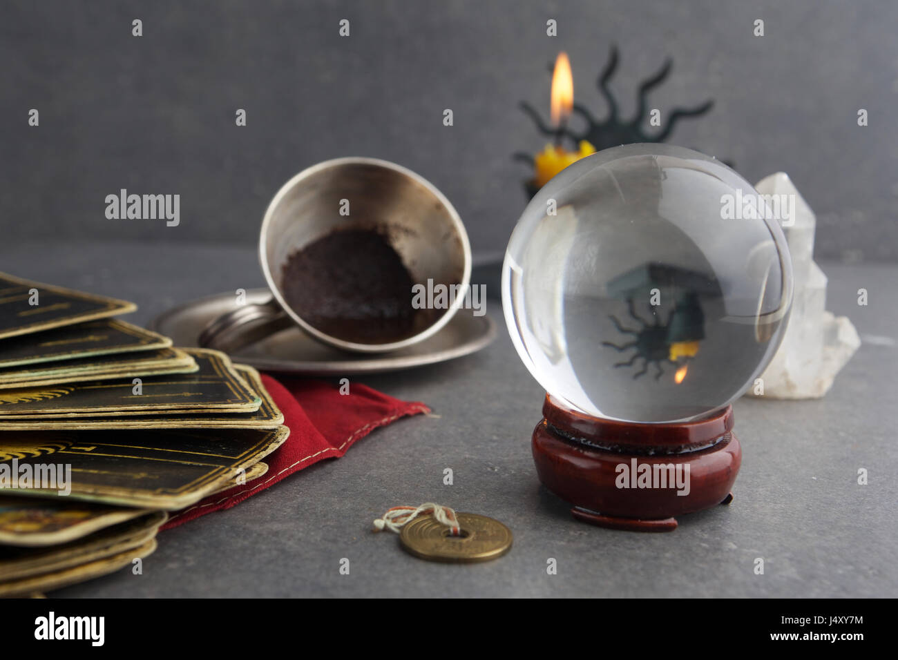 Composition of esoteric objects, used for healing and fortune-telling - Stock Image