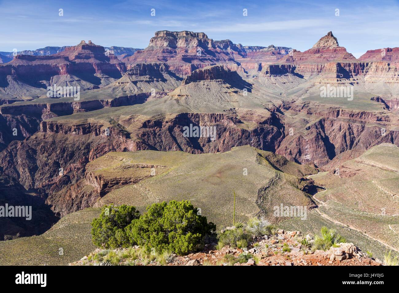 Panoramic View of Vishnu Temple and North Rim of Grand Canyon Arizona from end of Horseshoe Mesa Hiking Trail - Stock Image