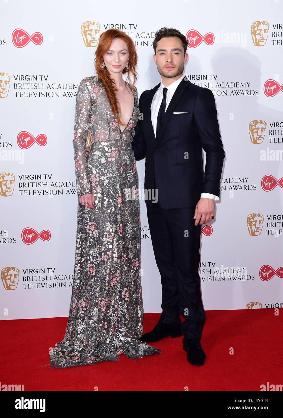 Eleanor Tomlinson and Ed Westwick in the press room at the Virgin TV British Academy Television Awards 2017 held - Stock Image
