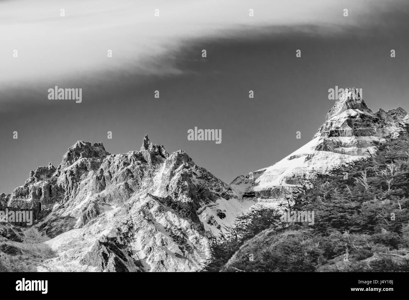 Patagonia landscape scene with big snowy andes mountains as main subject, Parque Nacional Los Glaciares, Argentina - Stock Image