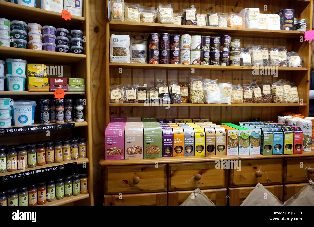 Cornwall, England, UK - April 7th 2017: Selection of organic goods and produce in a Cornish farm shop in Cornwall Stock Photo