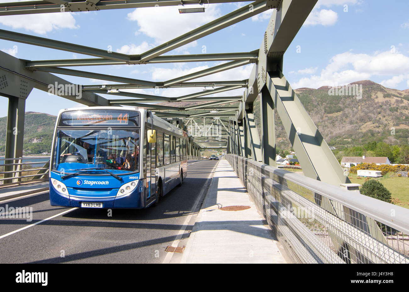 Fort William, Scotland - May 11, 2016: A Stagecoach Highland rural bus service at Ballachulish Bridge near Glen - Stock Image