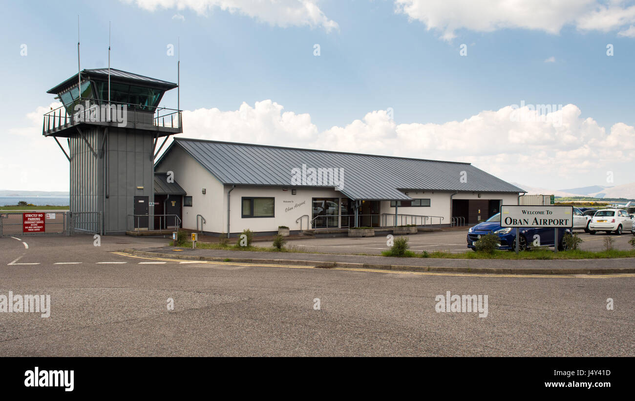 Oban, Scotland, UK - May 12, 2016: The small terminal building of Oban Airport, a small regional airport in the Stock Photo