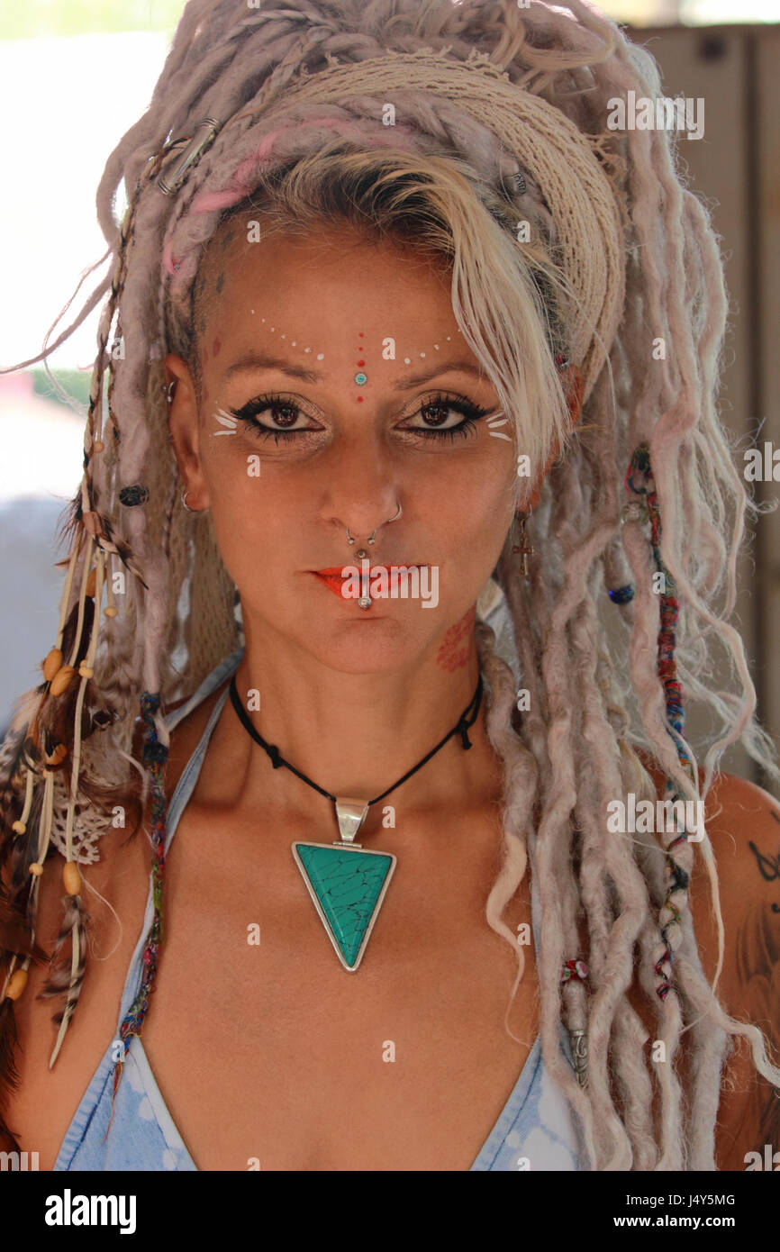 Woman With Body Art And Tattoos Goa India Stock Photo Alamy