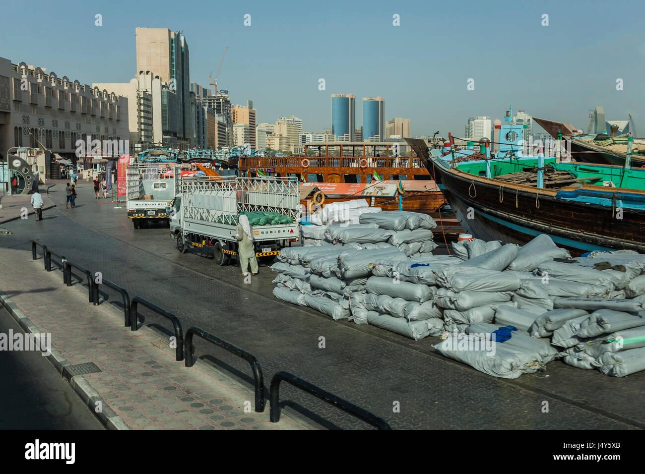 DOWNTOWN DUBAI,DUBAI, UAE-16TH AUG 2015:-Dubai is an ultra modern city alongside old world town Stock Photo