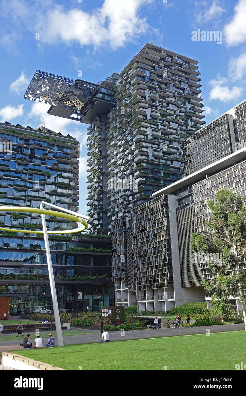 Central Park, Sydney, Australia. 'One Central Park', designed by French architect Jean Nouvel, has hanging - Stock Image