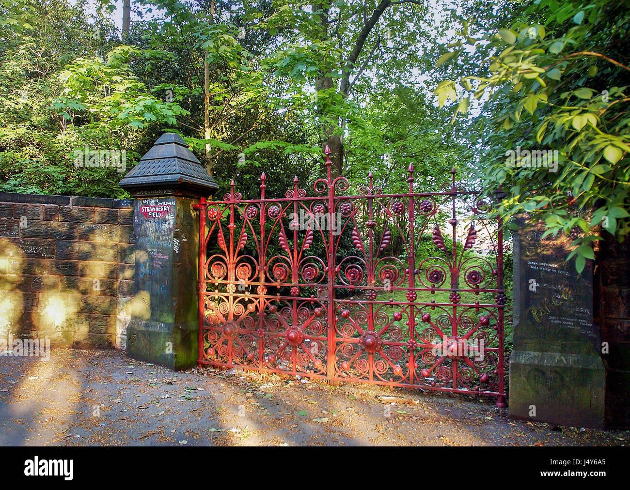Strawberry Fields gates. Liverpool Stock Photo