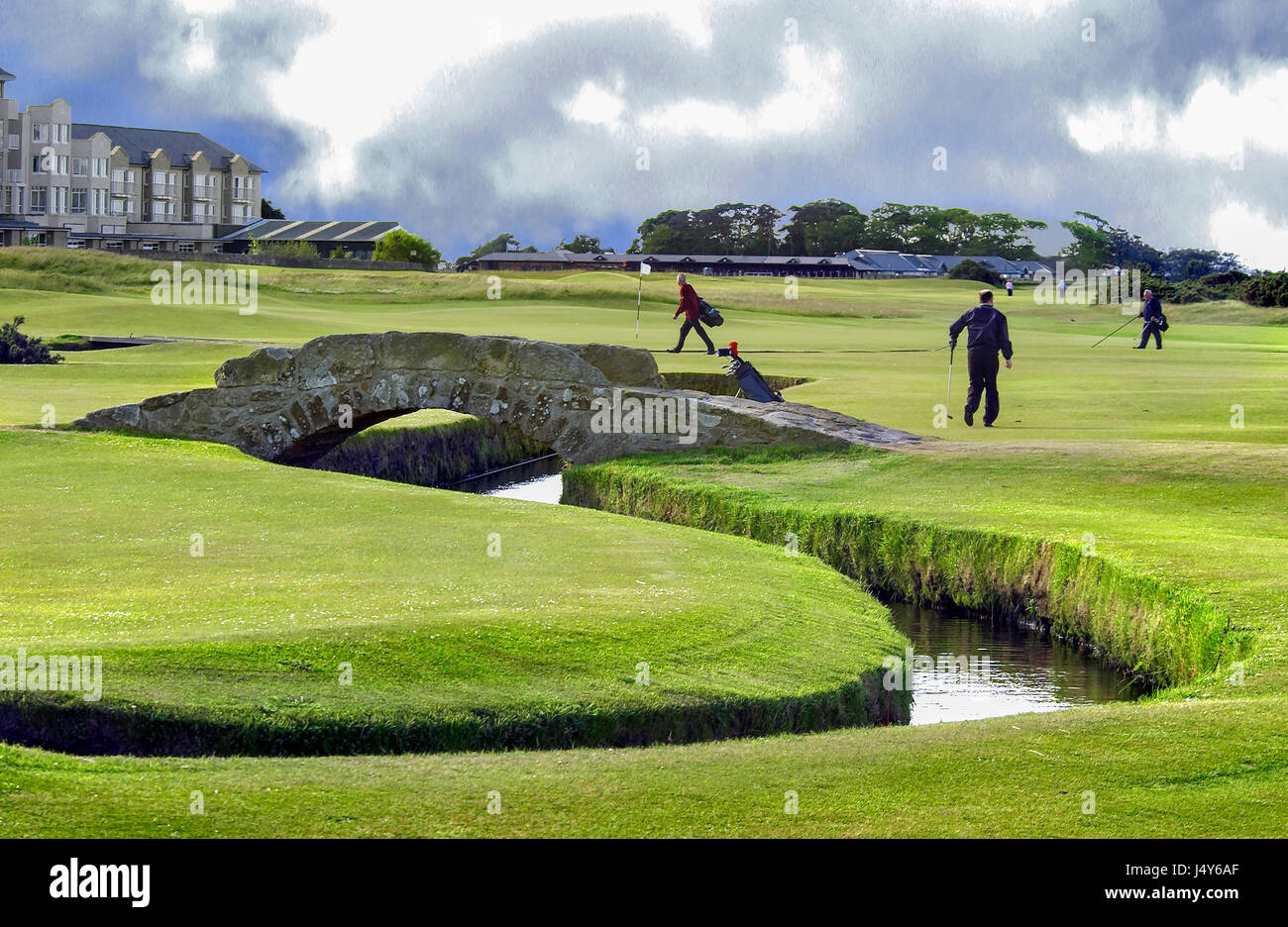 The Royal and Ancient old course at St. Andrews in Fife, Scotland. The home of golf. The bridge is the famous Swilkan - Stock Image