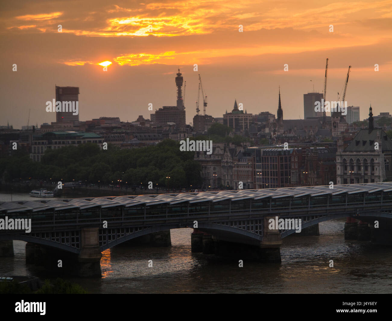 The BT Tower and the Thames - Stock Image