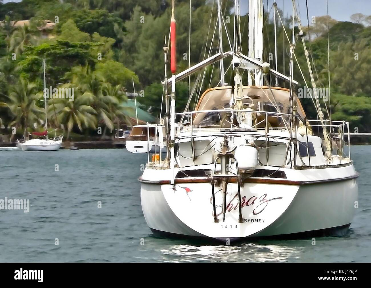 Close-up of yacht moored in Port Vila, Efate Island, Vanuatu - Stock Image