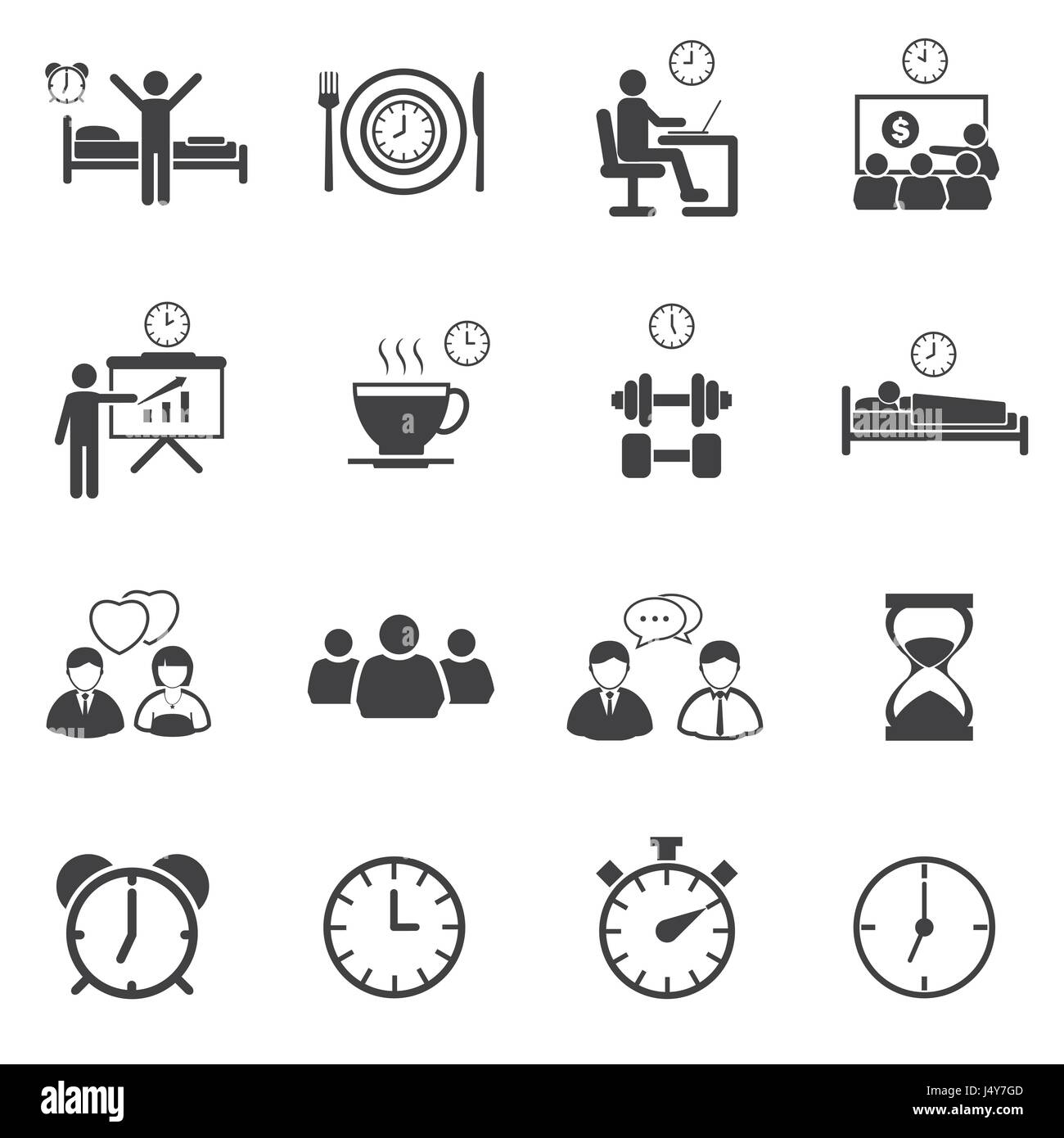 Business time and Daily routine icon set Stock Vector