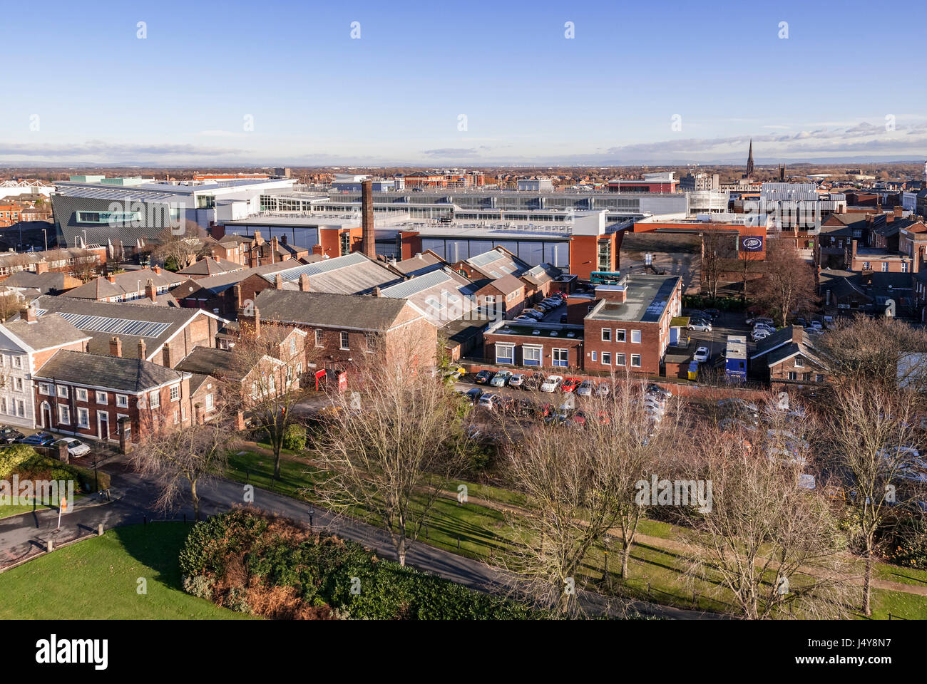 Warrington town centre looking east from the town hall showing the Golden Square development. Stock Photo