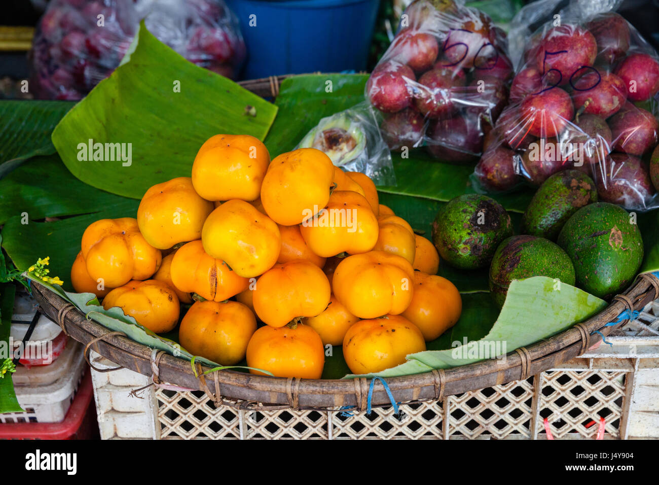 Fruits at the Chian Mai fruits market. Thailand Stock Photo