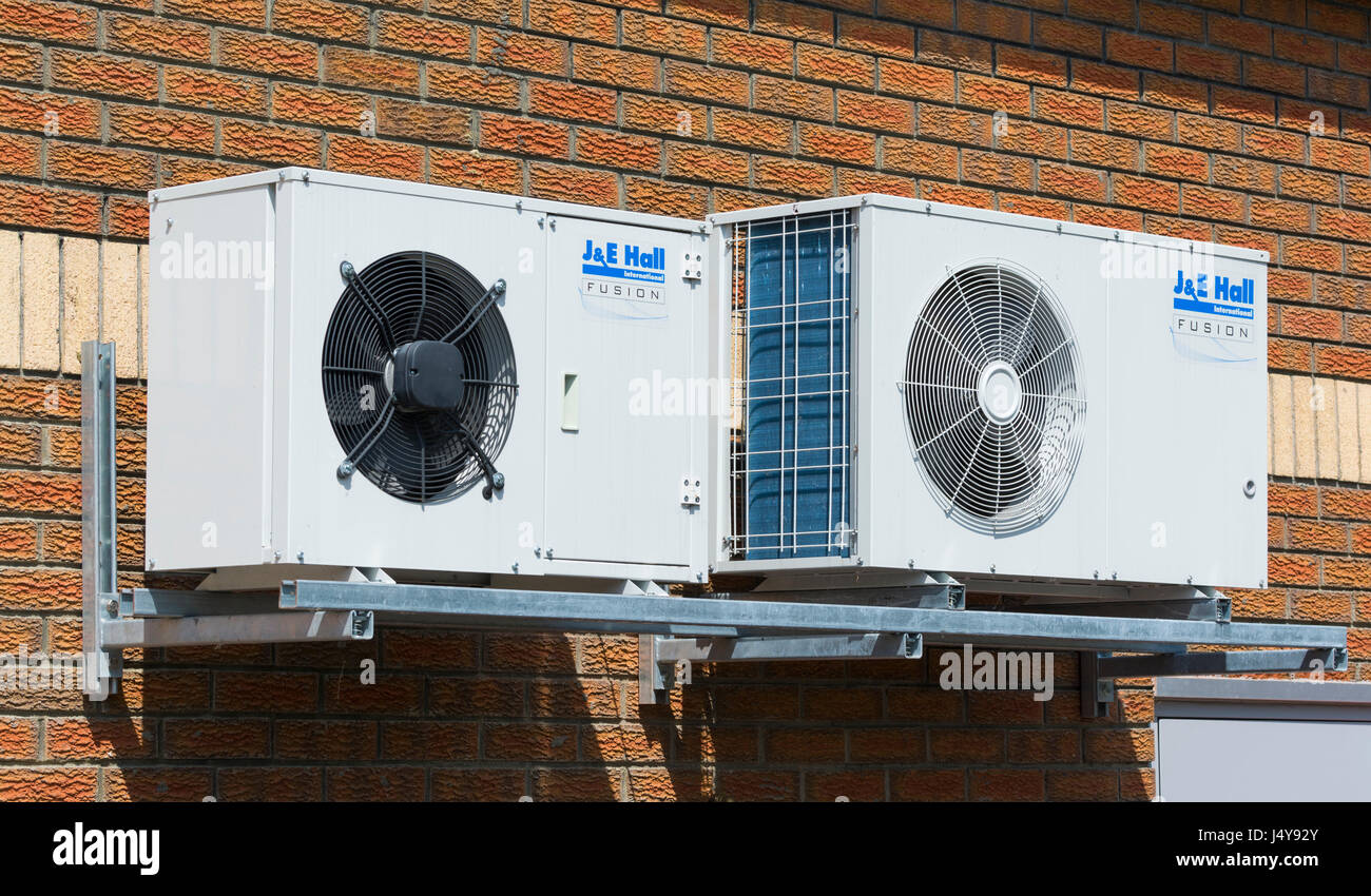 J & E Hull Fusion air conditioning units. - Stock Image