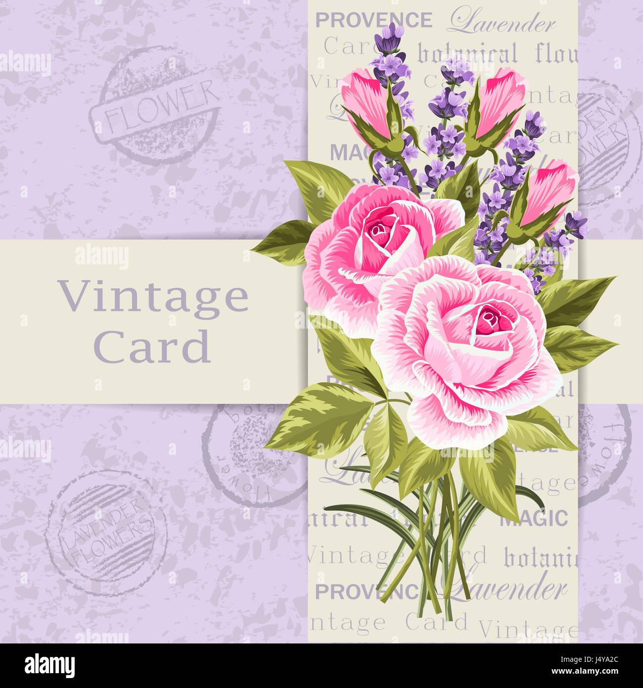 vintage card with flowers stock image