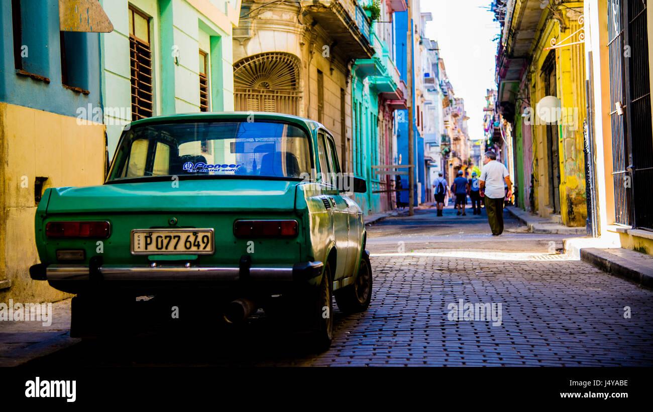 Old Car in a shabby street in Havana - Stock Image