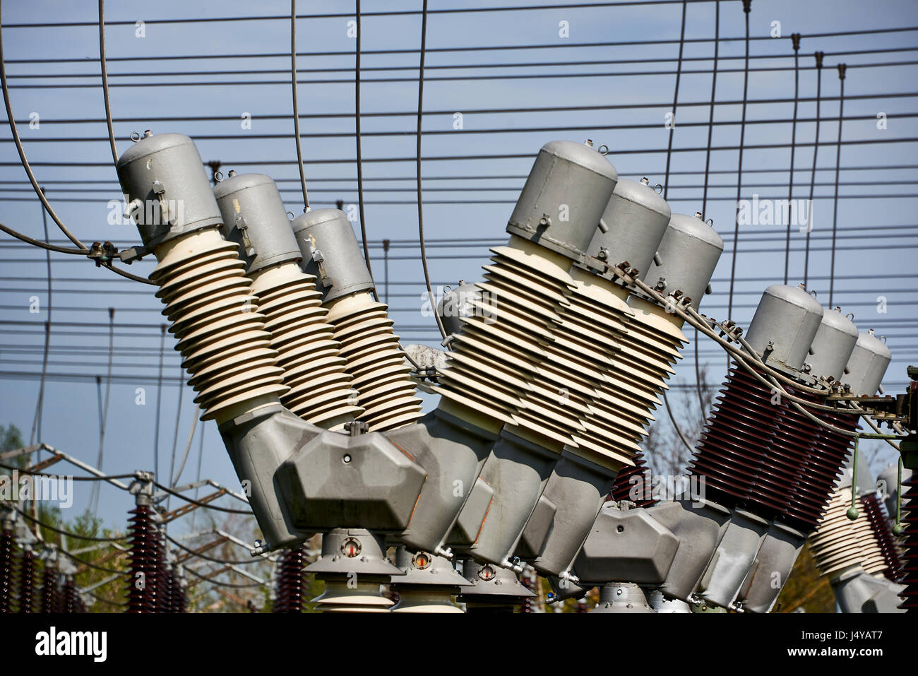 electricity sub transformer station - Stock Image