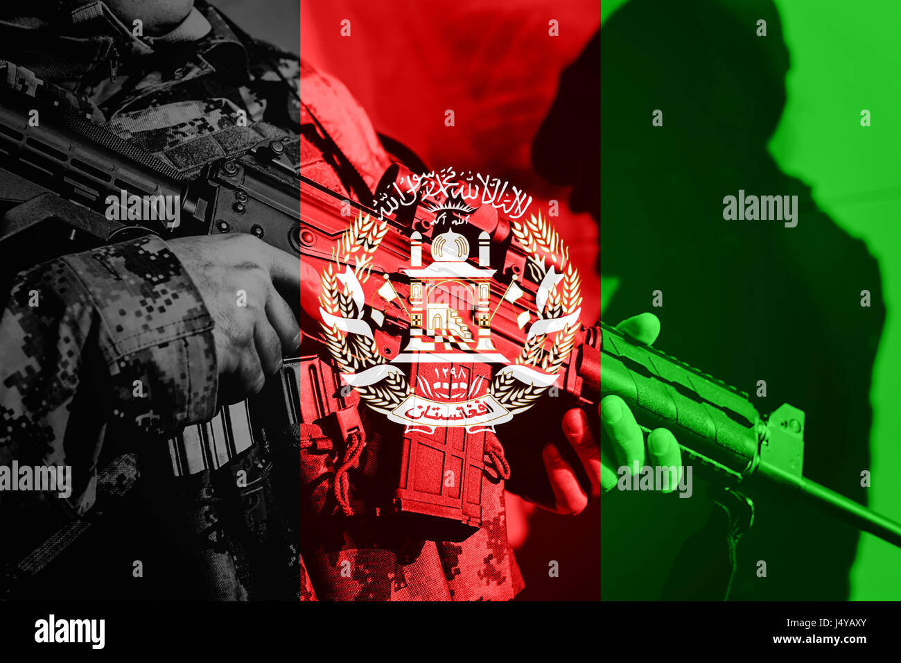 soldier with machine gun with national flag of afghanistan stock