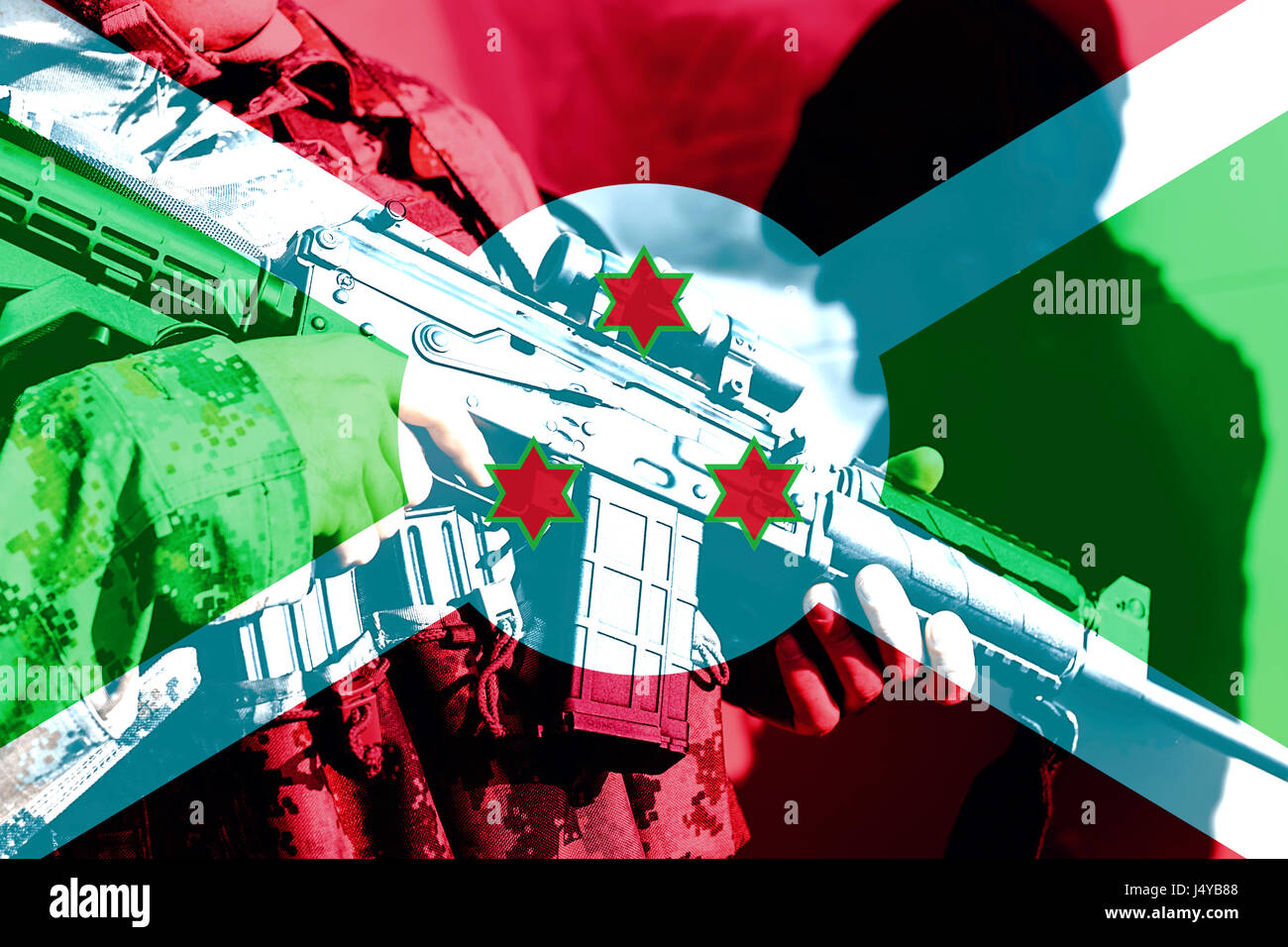 Soldier with machine gun with national flag of Burundi - Stock Image