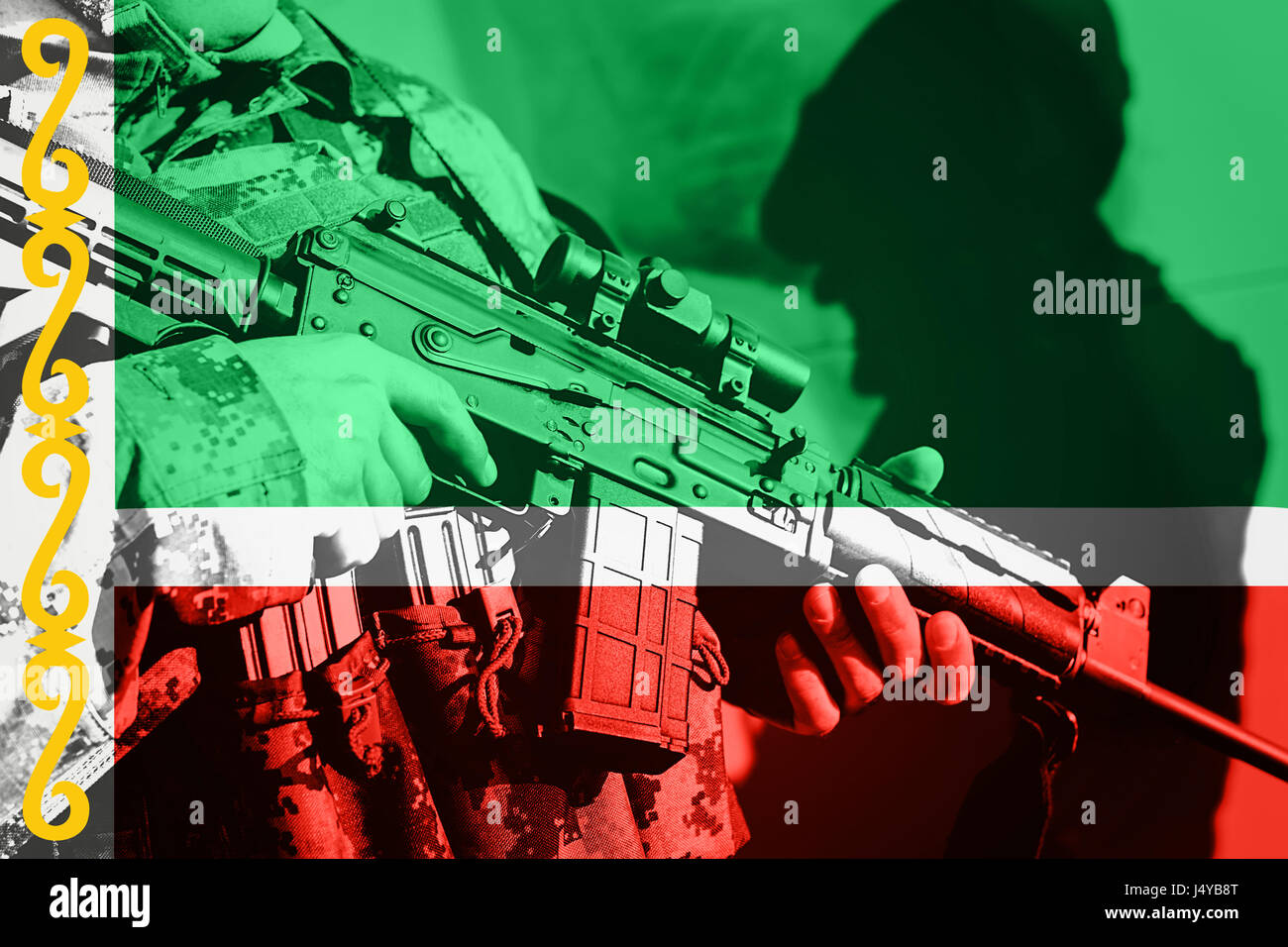 Soldier with machine gun with national flag of Chechnya - Stock Image