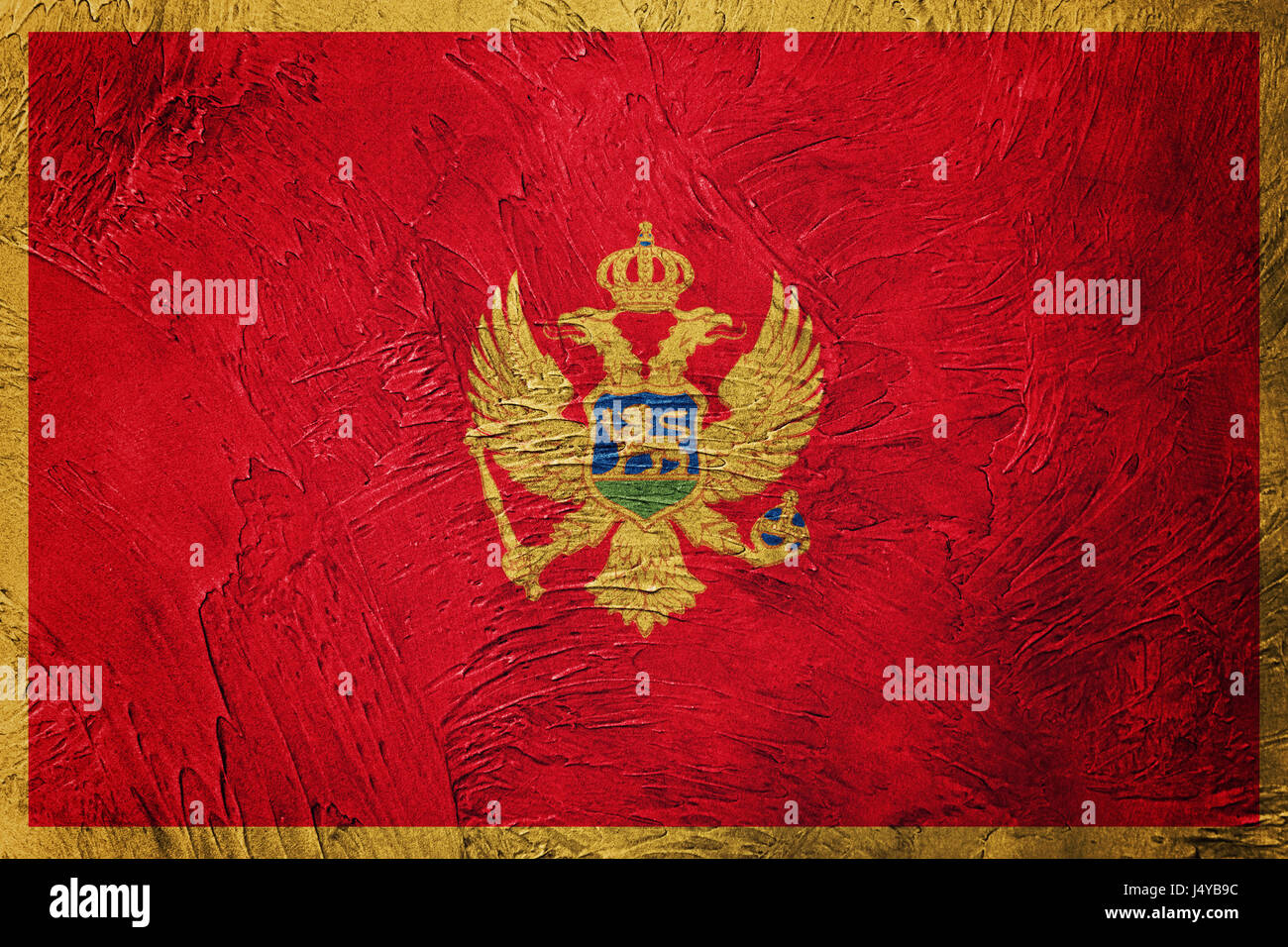 Grunge Montenegro flag. Montenegro flag with grunge texture. Stock Photo