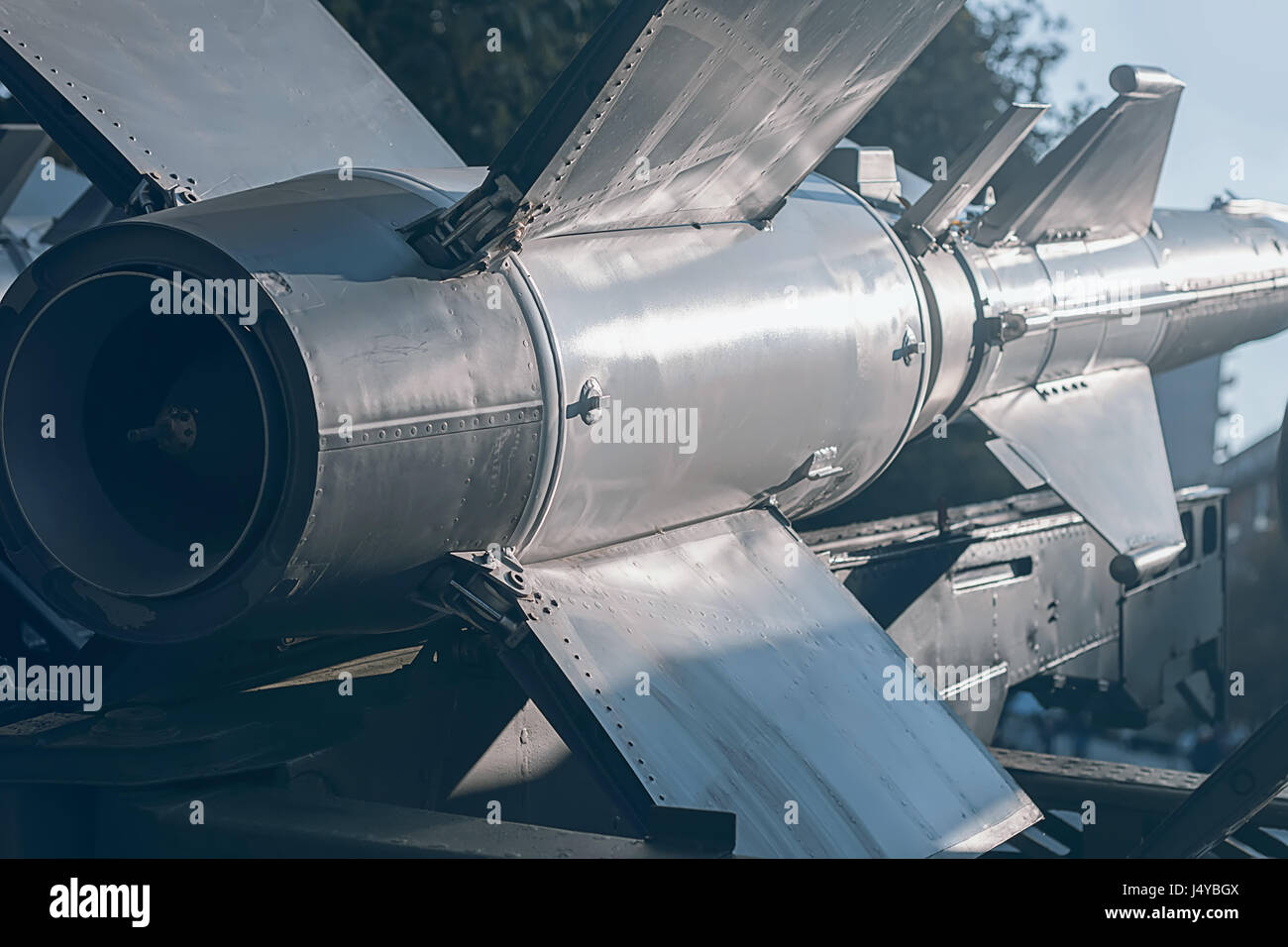 Ballistic Rocket. Nuclear Missile With Warhead. War Backgound. - Stock Image