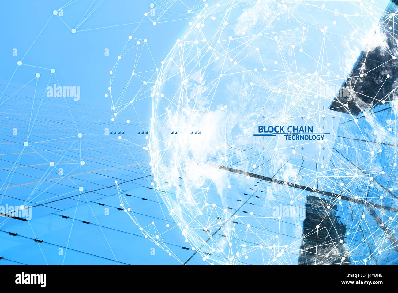 Fintech technology and Blockchain network concept , Distributed ledger technology connect wireframe and cloud globe - Stock Image