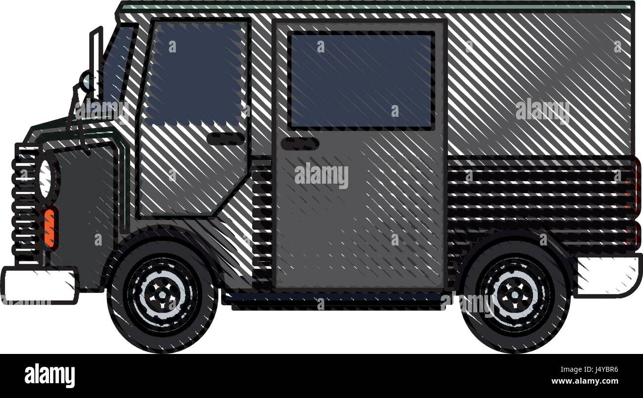 drawing truck postal delivery transport design - Stock Vector