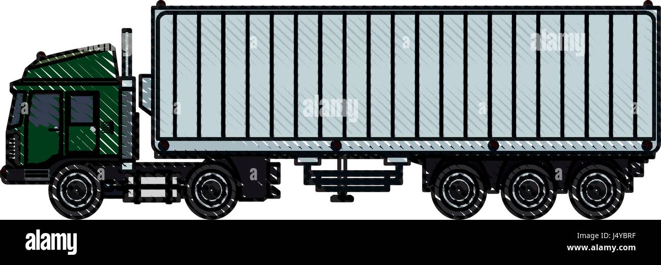 Illustration Container Truck Trailer Set Stock Photos & Illustration ...