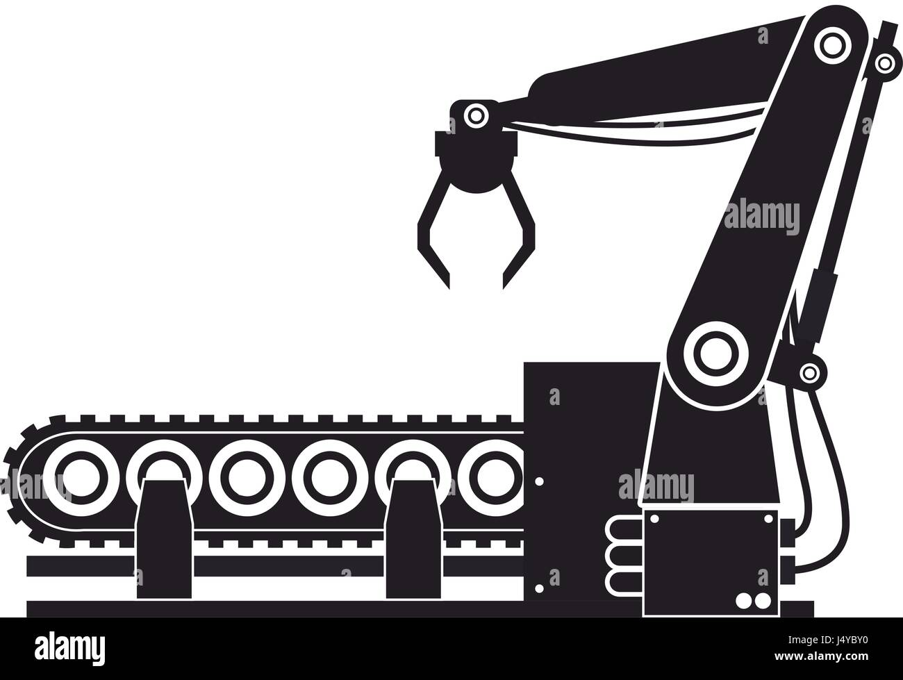 computer controlled automated manufacturing process, industrial robot in packaging line - Stock Image