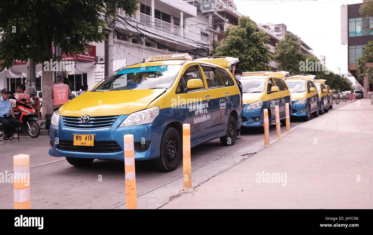 Taxi Cabs vehicle for hire with a driver Rides Pattaya Thailand South East Asia Stock Photo