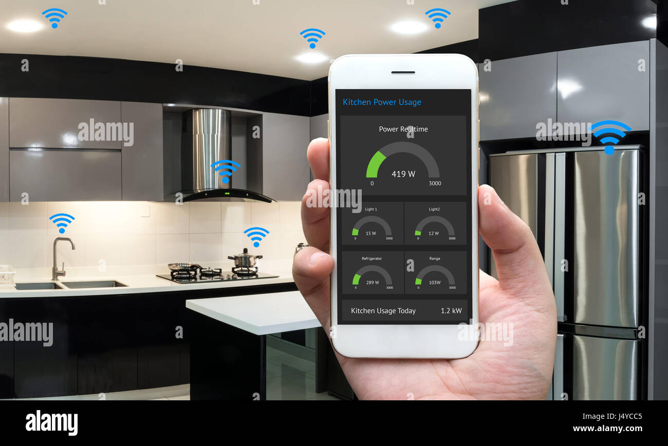 Internet of things , iot , smart home , kitchen , network connect ...