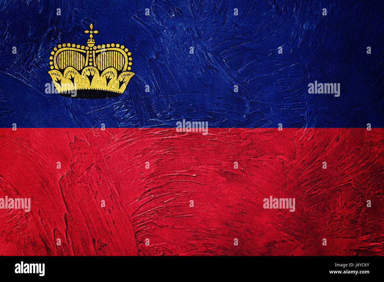 Grunge Liechtenstein flag. Liechtenstein flag with grunge texture. - Stock Image