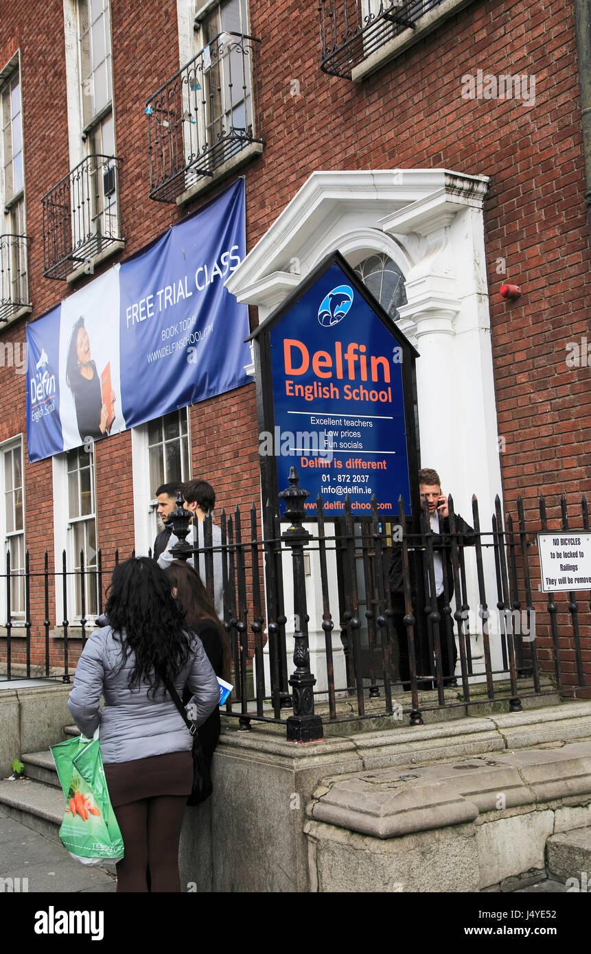 Delfin English school, city of Dublin, Ireland, Irish Republic - Stock Image