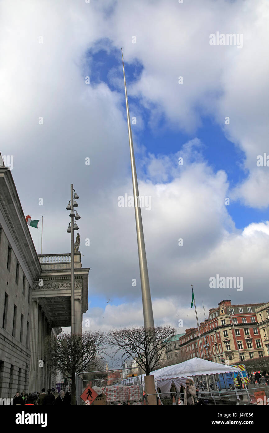 Spire of Dublin, also the Monument of Light, O'Connell Street, Dublin, Ireland, 120 metres high, Ian Ritchie Architects, Stock Photo