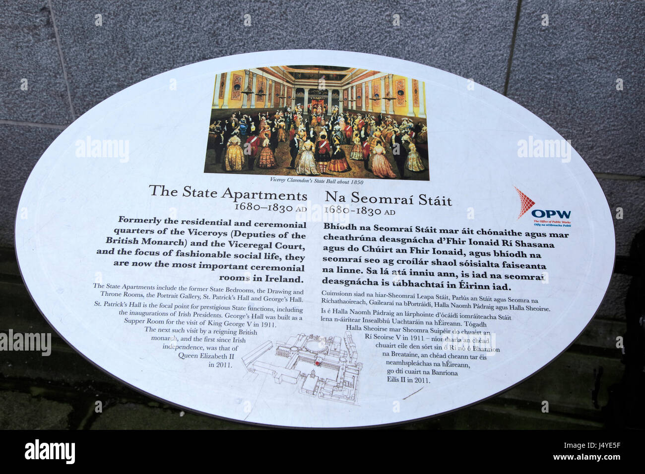 Information panel about the State Apartments Dublin castle, Ireland, Irish Republic - Stock Image